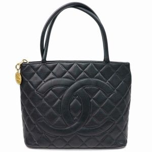 Auth Chanel Hand Bag Black Leather 427L3450